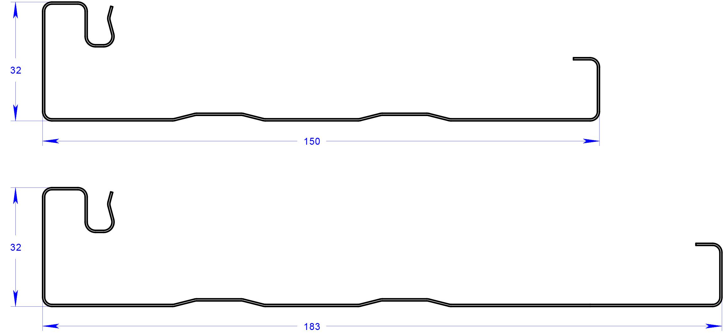 fascia profile diagram with dimensions